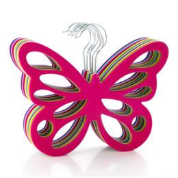 Trouser belT clips online shopping - Creative Household Hanger Plastic Pile Coating Scarves Hangers Butterfly Shape Non Slip Clothes Rack For Home Decoration bd BW