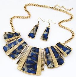 $enCountryForm.capitalKeyWord NZ - Unique Design Geometric Short Necklaces Women Leopard Epoxy Earrings Necklaces Set Lady Fashion Pendant Necklaces Blue Brown Color 5PCS