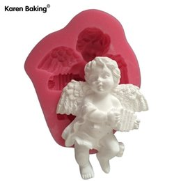 $enCountryForm.capitalKeyWord Canada - New Arrival Cute Angel Boy With Electronic Organ Shape 3D Silicone Cake Mold Fondant Cake Tools For Cupcake