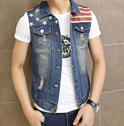 c7eab23a37353 Wholesale- Mens Motorcycle Sleeveless Denim Vest Man Casual Star Flag  Printed Jeans Jacket Waistcoat Slim Fit M-5XL