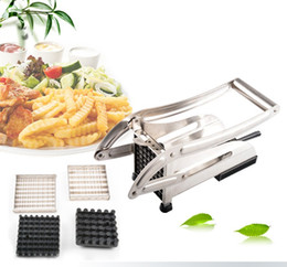 eco potato cutter Canada - Stainless Steel Home French Fries Potato Chips Strip Cutting Cutter Chopper Chips Making Tool Potato Cutting Fries + 2 Blades
