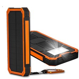 Discount cell phone external battery banks - 10000Mah Solar Charger Power Bank New Waterproof Portable External Sun Faster Charger Cellphone Battery For IPhone haiwe