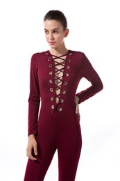 Barato Lace Jumpsuit Venda-Venda por atacado - Hot Sale Fashion Sexy Lace-up Deep V Skinny Jumpsuits Mulheres Outono Long-sleeve One-Piece Long Trousers Feminino Bottoming Rompers
