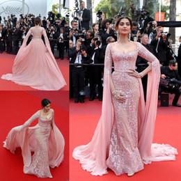 Sonam kapoor red carpet dreSSeS online shopping - Sonam Kapoor Elie Saab Overskirt Evening Dresses Pink Appliqued Formal Party Gowns Zipper Back Red carpet Celebrity Dress prom Dresses