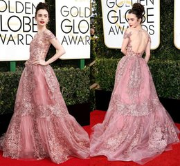 Robe Rose Zuhair Pas Cher-2017 Modes Zuhair Murad robes du soir Sheer Neck manches cap Tulle Backless tapis rouge Celebrity robes Rose Rose Golden Globes Vestido
