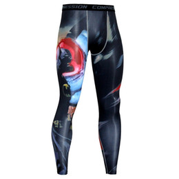 Chinese  Wholesale- Mens Compression Pants New Fashion 3D Printing Quick Dry Skinny Leggings Tights Fitness MMA Pants Trousers Elasticity manufacturers