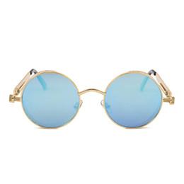 Discount steampunk round designer sunglasses - Hot Selling Fashion Steampunk Sunglasses Men Women Metal WrapEyeglasses Round Shades Brand Designer Mirror High Quality