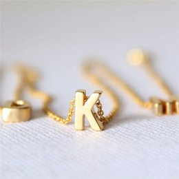 Wholesale Gold Initial Pendants Canada - Tiny gold initial necklace gold letter necklace initials name necklaces pendant for women girls .best birthday gift