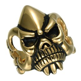 punk rings Australia - MCW Gold Punk Skeleton Revenge Fury With Stainless Steel Biker Style Rings For Men jewelry