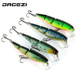 Chinese  Dagezi 3Sections 3D Eyes Fishing Lures 10.5Cm 15G Fishing Tackle 4Color Minnow Fishing Hard Bait 4Pcs  Lot 6#Hook manufacturers