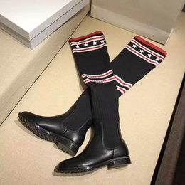 High Fashion Knit Fabric Canada - 2018 New Stretch Fabric Thigh Knitted Sock Boots Feminino Fashion New 2018 Over the Knee Womens Motorcycle Booties
