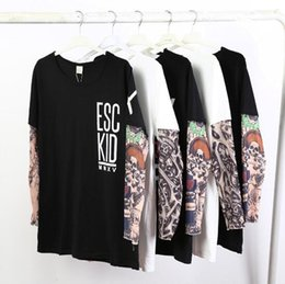 Barato Blusas De Praia-4 Styles INS Camisetas Beach Fake Tattoo Tops Summer Blouse Casual Tees Loose Printed Outdoor Shirt Moda Adulto T-Shirts CCA8048 20pcs