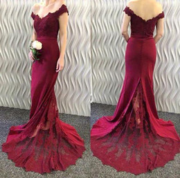 Discount hot nude prom dresses - 2017 New Hot Sale Mermaid Prom Dresses High Quality Burgundy Lace Applique Off Shoulder Sweep Train Buttons Back Long Fo
