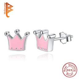 $enCountryForm.capitalKeyWord Canada - BELAWANG Authentic 100% Solid 925 Sterling Silver Pink Enamel Princess Crown Stud Earrings For Women Fashion Lady Sterling-silver-jewelry