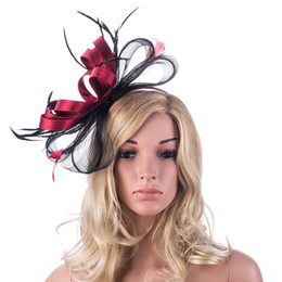 Barato Chapéu Do Derby Do Véu-Womens Retro Sinamay Fascinator Tilt Feather Cocktail Party Hat Veil Kentucky Derby Wedding Party Headband A326