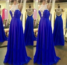 Robe De Soirée En Mousseline De Soie Pas Cher-Blue Rhinestone Beaded Long Robes de soirée 2017 Sexy Voir à travers Crystal Royal Blue Chiffon A-Line Evening Prom Gowns à vendre