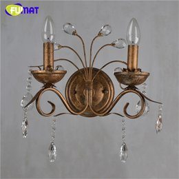 Art Deco Bedside Lamps Canada - FUMAT K9 Crystal Wall Lamps Vintage Metal Art Deco Wall Sconce Light Brass Bedside Light 2 Lights Living Room Candle Wall Lamps