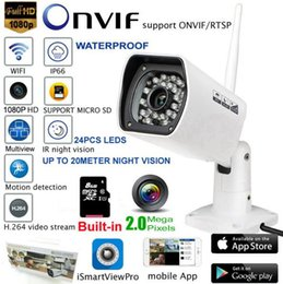 Wholesale HD P Waterproof IP Camera WIFI Wireless Outdoor Surveillance Camera ONVIF Security IR Night Vision Built in G SD Card