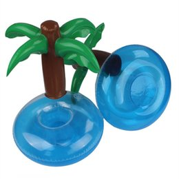 Wholesale plam tree Inflatable Drink Cup Holder Bottle Holder Floating Lovely Pool Bath Toy For Beach Party plam tree