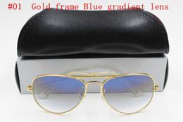 Sun Glasses Black NZ - 1pcs Top Fashion Brand Pilot Sunglasses Designer Sun Glasses For Men Women Gradient Alloy Metal Gold Blue Glass Lens 58mm black Case Box