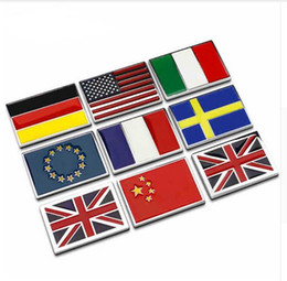 Wholesale USA UK Gremany France Italy Sweden National flag emblem DIY metal car sticker body cover car Tail box labeling car styling