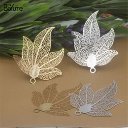 leaf charms Australia - BoYuTe 10Pcs 45*45MM Brass Filigree Maple Leaf Charm 2 Colors Diy Etched Sheet Pendant Charms for Necklace Jewelry Making