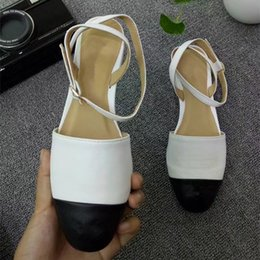 193bf1c2c079e Jhe09 White Mixed Color Cap-toe Closed Toe Slingbacks Sandals Thong Genuine  Leather Sandals Low Heel Dress Pumps Lady Women Shoes Sz 35-42