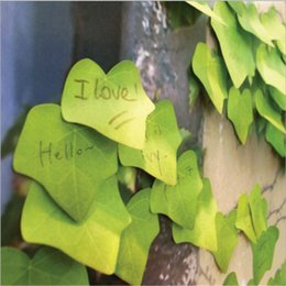Discount sticky wall paper Lifelike leaves Creative Sticky Notes classroom Memo Pad Paper Sticker Post It Gift leaf Wall stickers Fridge sticker N