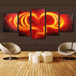 Love Wall Pictures NZ - New Wholesale 5 PCS Set new arrival abstract red love canvas wall painting for wedding room decor HD pictures no frame free shipping