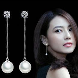 $enCountryForm.capitalKeyWord Canada - Goddess children temperament female Wedding diamond tassel pearl earrings Studs S925 Sterling Silver long section ear chain shiny earrings