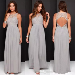 Barato Vestidos Longos Cinzentos Da Dama De Honra-Grey Chiffon Lace Vestidos de dama de honra Long A Line Plus Size Formal Dresses Wedding Party Bridesmaid Gowns