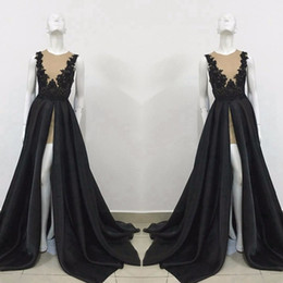 Lingerie Formelle Et Formelle Pas Cher-2017 Exquisite Sheer Robes de soirée noires Robes de soirée formelle Une ligne High Split Long Train Prom Holiday Robes de tapis rouge