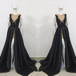 Discount dark photo - Exquisite Sheer Black Evening Dresses Formal Occasion Party Gowns A Line High Split Long Train Prom Holiday Red Carpet G