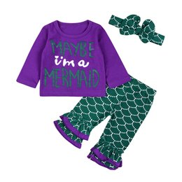 Chinese  Mikrdoo Hot Kids Girls Clothes Suits Baby Girl Funny Letters Purple Tops Mermaid Pants Cartoon T Shirt Leggings Headband Outfits 3pcs Sets manufacturers