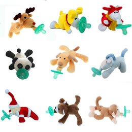 Sucette Gros Clips Fournitures Pas Cher-Grossiste-Silicone Baby Funny Sucettes Clips Wubbanub New Baby Fournitures Nibbler Alimentateur Sucette Avec Peluche Toy Soother Holder Nipple