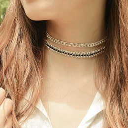 brass copper collar Canada - 2pcs set New Copper Beads Rhinestone Choker Collar Necklace for Women Girls Simple Neck Chocker Jewelry Wholesale Free Shipping XR710