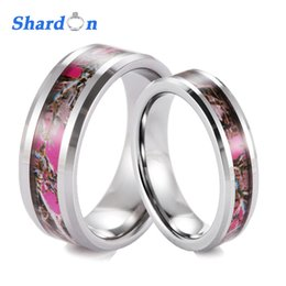 discount pink camo wedding bands shardon 6mm 8mm tungsten camo wedding band with beveled edges and