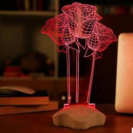 lava lamp night light wholesale red rose flower night light 3d visual led night