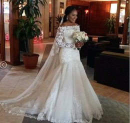 b08c9189dc 2018 Long Sleeve Lace Appliques Strapless Wedding Dresses With Lace Up  Vintage Garden Bridal Gowns Plus Size