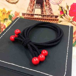 rubber 8mm NZ - Rough rope three in one high elastic red beads head rope 8MM large beads bow tie hair rope female rubber band