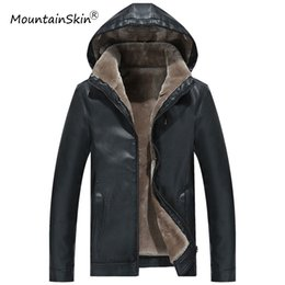 Barato Roupas Grossistas Masculinas Térmicas-Atacado- Mountainkin Winter Men's Leather Jacket Warm Thick PU Coat Casacos de lã térmica masculina Faux Leather Men Brand Clothing LA577