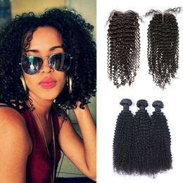 $enCountryForm.capitalKeyWord Canada - Hot Selling Brazilian Kinky Curly Hair Weaves 3 Bundles with Closure Free Middle 3 Part Double Weft Human Hair Extensions Dyeable Human Hair