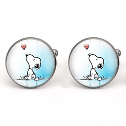 China Snoopy Cufflinks Glass Cabochon Dog Cuff Links for Men Jewelry making Accessories Cartoon Gifts Copper Wholesale suppliers