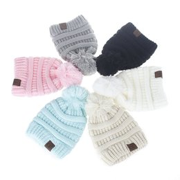 Barato Moda De Malha De Criança-Mais novos Baby Boys Girls Warm Autumn Winter Beanies Chapéus CC Kids Trendy Soft Cap Casual Fashion Solid Knitted Hat