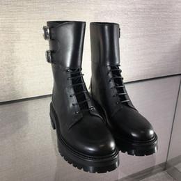 Short loop online shopping - high quality u748 black genuine leather belt platform short boots flats luxury designer