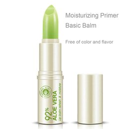 Barato Beleza De Aloe-Rmakeup Waterproof Nutritious Lip Natural Aloe Lipstick Gloss Fácil de usar Beauty Makeup Long Last Lip Balm Maquiagem ML017
