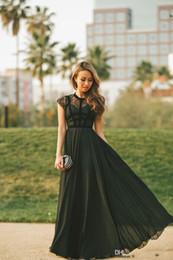Ingrosso 2019 abiti da sera Elegante pizzo nero maniche con maniche a-line in chiffon donne abiti da ballo lunghi abiti da ballo formale