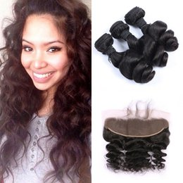 Chinese Knots NZ - Human Hair Bundles With Lace Frontal Closure Bleached Knots Virgin Peruvian Virgin Loose Wave Hair Weaves With Closure LaurieJ Hair