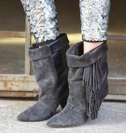 Genuine Suede Leather NZ - 2017 new classic women's black grey genuine leather suede pointed toe spike heel ankle fringe boots tassel pumps lady shoes size35-42