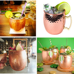 rose gold handles Canada - 530ml Moscow Mule Mug 304 Stainless Steel Hammered Copper Plated with Handle Rose gold Drum Style Drinkware Beer Coffee Cocktail Drink Cups